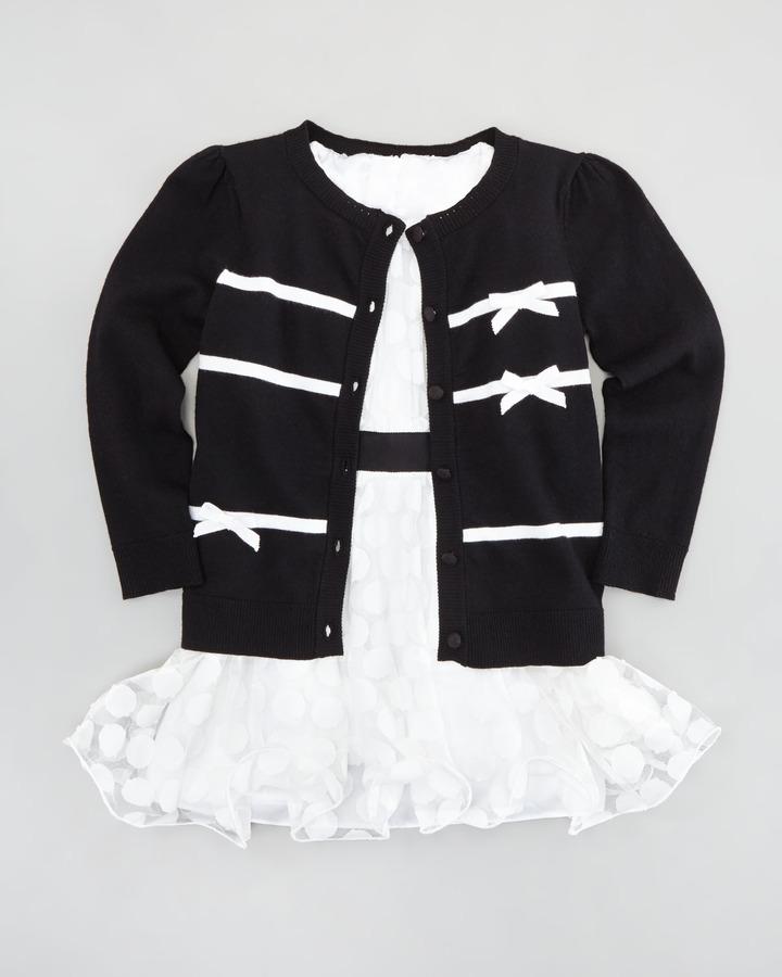 Milly Minis Ribbon Bow Cardigan, Black, Sizes 8-10