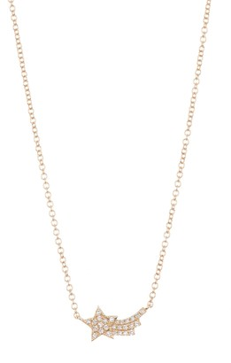 Ef Collection 14K Yellow Gold Diamond Shooting Star Necklace - 0.07 ctw