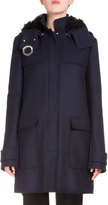 Proenza Schouler Snap-Front Long Coat W/Removable Hood, Navy
