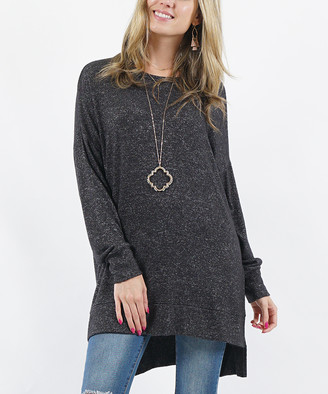 Melange Home Lydiane Women's Pullover Sweaters CHARCOAL - Charcoal Crewneck Side-Slit Tunic - Women & Plus