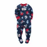 Carter's Navy Football Fleece Pajamas - Baby Boys newborn-24m