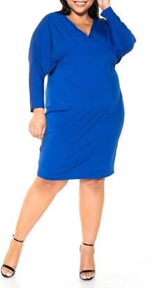 Alexia Admor Christine Draped Dolman Sleeve Sheath Dress