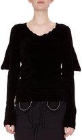 Loewe Knit Puff-Sleeve Open-Back Sweater, Black