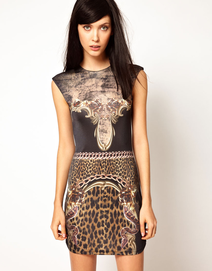Emma Cook Jade Dress in Baroque Print in Silk Mix Jersey