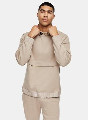 Topman Stone Nylon Trim Funnel Neck Sweatshirt