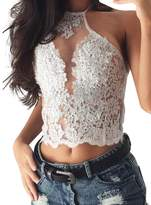 Glamaker Women's Sexy Lace Halter Neck Crop Tops Tank Sleeveless for Party Club