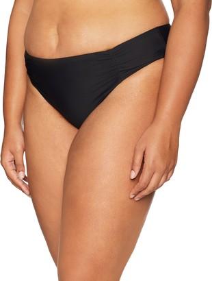 Athena Women's Plus Size Blue Horizon Shirr Side Hipster Bikini Bottom