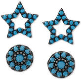 Macy's 2-Pc. Set Manufactured Turquoise Star and Oval Stud Earrings in Sterling Silver