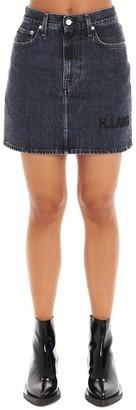 Helmut Lang Logo Embroidered Denim Mini Skirt