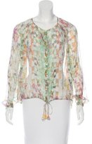 Elizabeth and James Abstract Print Silk Blouse