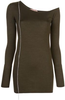 No.21 asymmetric neckline knit top