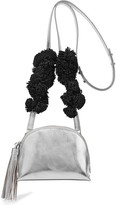 Loeffler Randall Suede-trimmed Metallic Textured-leather Shoulder Bag - Silver