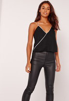 Missguided Contrast Wrap Cami Black