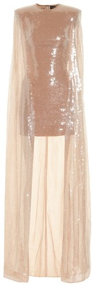 David Koma Sequined cape minidress