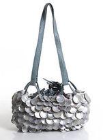 Moyna Blue Silver Leather Satin Shell Trimmed Evening Handbag