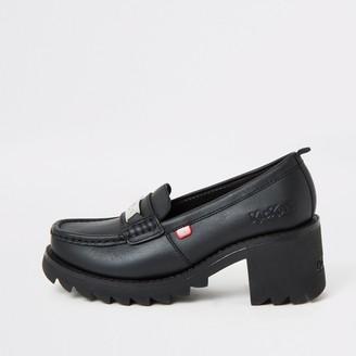 Kickers River Island Womens Black Klio chunky heel loafers