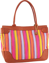 KORET new york Leather Trimmed Stripe Large EW Tote