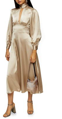 Topshop Long Sleeve Satin Midi Dress