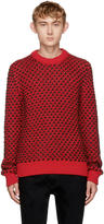 Calvin Klein Red and Black Cable Knit Sweater