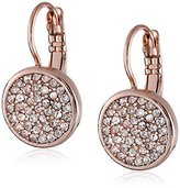 "Anne Klein Flawless"" Rose Gold Crystal Pave Drop Earrings"