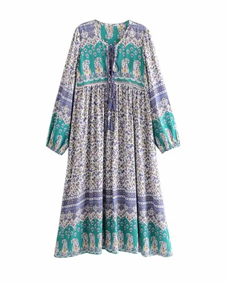 Top Vigor TOP-VIGOR Women's Casual Boho Dresses for Women Bohemian Long Sleeve Floral Print Retro Neck Tie Beach Style Long Midi Dress Purple Green
