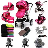 i-Safe System + iSOFIX Base - Raspberry (Pink) Trio Travel System Pram & Luxury Stroller 3 in 1 Complete With Car Seat + Footmuff + Carseat Footmuff + RainCovers by iSafe