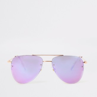 River Island Gold lilac lens aviator sunglasses