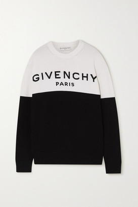 Givenchy Two-tone Intarsia Cashmere Sweater - Black
