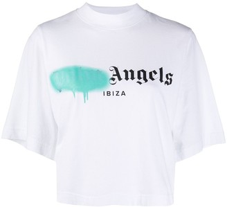 Palm Angels logo-print mock-neck T-shirt