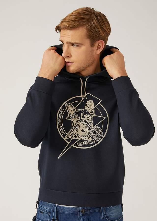 Emporio Armani Hooded Sweatshirt With Embroidery