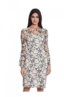 Adrianna Papell Floral Embroidered Sheath Dress In Blush Multi
