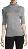 Liz Claiborne Elbow Sleeve Turtleneck Pullover Sweater-Talls
