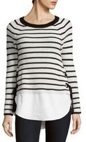 Cable & Gauge Long-Sleeve Hi-Lo Striped Sweater