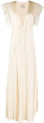 L'Autre Chose Ruffle Sleeve Lace-Up Detail Dress