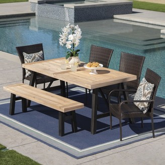 Christopher Knight Home Philippa Outdoor 6 Seater Acacia Wood Dining Set with Wicker Stacking Chairs