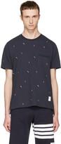 Thom Browne Navy Skier and Flag Piqué Crewneck T-shirt