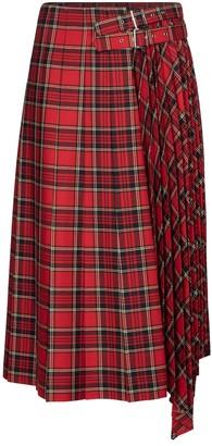 Noir Kei Ninomiya Checked wool-blend midi skirt