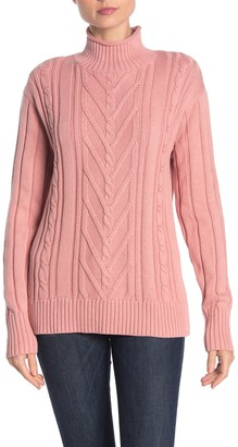 J.Crew Mock Neck Cable Knit Sweater