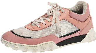 Chanel Pink/White Mesh And Leather CC Low Top Sneakers Size 40.5