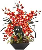 Nearly Natural Cymbidium Orchid Silk Arrangement with Black Vase