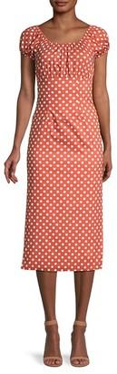 Caroline Constas Polka Dot-Print Stretch-Cotton Dress