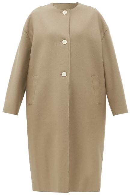 Harris Wharf London Collarless Single-breasted Felted-wool Coat - Light Brown