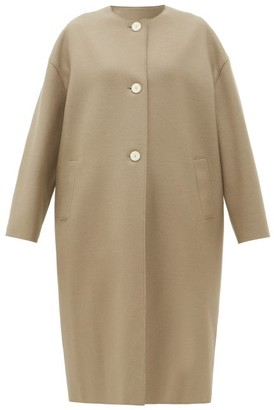 Harris Wharf London Collarless Single-breasted Felted-wool Coat - Womens - Light Brown