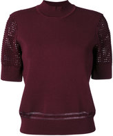 Carven cut out knitted top - women - Nylon/Polyester/Spandex/Elastane/viscose - XS