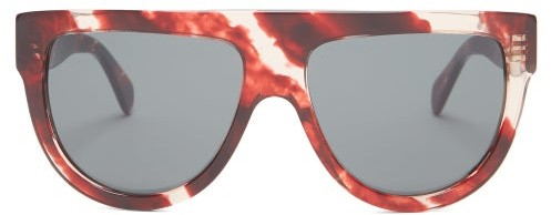 Celine Shadow D Frame Marbled Acetate Sunglasses - Womens - Red