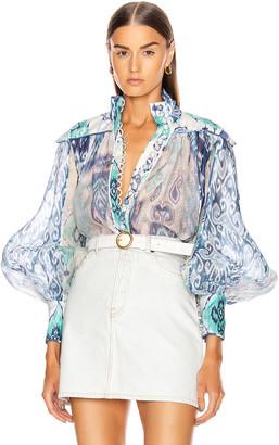 Zimmermann Glassy Long Sleeve Blouse in Spliced Blue Ikat | FWRD