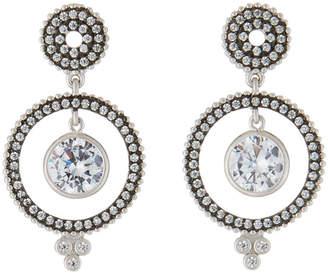 Freida Rothman Front-Facing Hoop Dangle Earrings, Silver