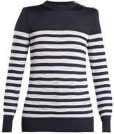 Balmain Button-shoulder crew-neck striped sweater