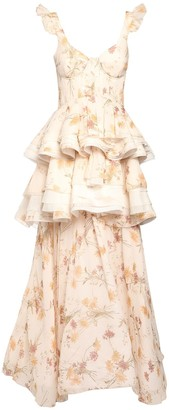 Brock Collection Printed Silk Georgette Gown W/ Ruffles