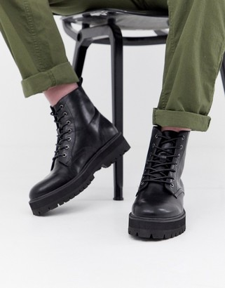 ASOS DESIGN black lace up boots in faux leather with raised chunky sole